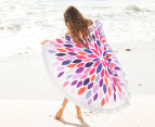 Bambury 150cm Florida Printed Round Beach Towel - White/Multi 2