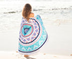 Bambury 150cm Zanzibar Printed Round Beach Towel - White/Multi 2