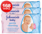 3 x Johnson's Gentle Cleansing Baby Wipes 56pk 1