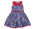 BQT Girls' Dog Print Dress - Cobalt 1