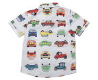 Urban Crusade Boys' Car Print Woven Shirt - White 2