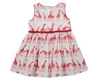BQT Baby Giraffe Cotton Woven Dress - Red  2