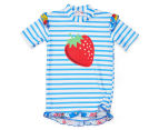Plum Girls' Short Sleeve Rashie - Blue Stripe 1