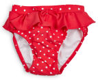Plum Girls' Swimming Shorts - Red/White 1