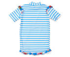 Plum Girls' Short Sleeve Rashie - Blue Stripe 2
