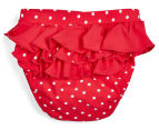 Plum Girls' Swimming Shorts - Red/White 2