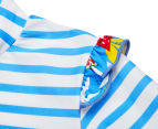Plum Girls' Short Sleeve Rashie - Blue Stripe 4