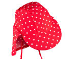 Plum Girls' Sun Cap - Red/White Polka Dot 4