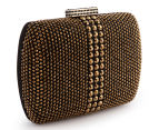 Peeptoe Tassle Stud Clutch - Black/Gold 1
