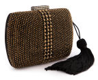 Peeptoe Tassle Stud Clutch - Black/Gold 2