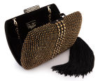 Peeptoe Tassle Stud Clutch - Black/Gold 3