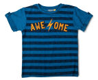 Urban Crusade Junior Boys' Awesome Print Tee - Blue 1