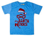 Urban Crusade Junior Boys' Santa Rocks Tee - Blue Marle 1