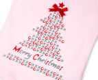 Funkybabe Junior Girls' Christmas XO Tree T-Shirt - Soft Pink 3