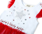 BQT Baby Girls' Santa's Little Helper Tutu Bodysuit - Red/White 3