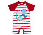BQT Baby Boys' Dino Stripe Romper - Red 1
