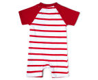 BQT Baby Boys' Dino Stripe Romper - Red 2