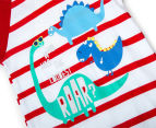 BQT Baby Boys' Dino Stripe Romper - Red 3