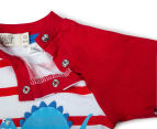 BQT Baby Boys' Dino Stripe Romper - Red 4