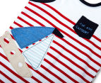 BQT Baby Boys' Sailing Boat Romper & Hat 2-Piece Set - Red/Navy 6