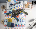 Hiccups By Linen House Domino Double Bed Quilt Cover Set - Blue  1