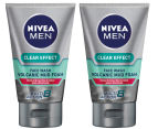 2 x Nivea Men Clear Effect Volcanic Mud Foam Face Wash 100mL 1