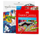 Faber-Castell 48 Classic Colour Pencils + Magical Cities Colouring Book Bundle 1