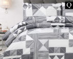 Belmondo Home Azaki Queen Bed Quilt Cover Set - Charcoal 1