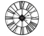 Extra Large Classic 60cm Round Block Clock w/ Brush Gold Numerals - Charcoal/Gold 6