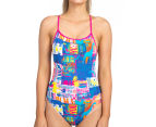 Arena Women's Passport Accelerate Back One-Piece - Rose Violet/Multi  1