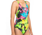 Arena Women's Routes Energy Back One-Piece - Black/Rose Violet 2