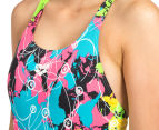 Arena Women's Routes Energy Back One-Piece - Black/Rose Violet 5