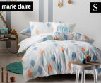 Marie Claire Mini By Linen House Quincey Single Bed Quilt Cover Set - Aqua  1