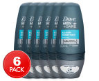 6 x Dove Men+Care Clean Comfort Roll On Anti-Perspirant Deodorant 50mL 1