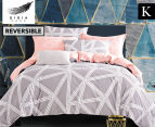 Gioia Casa KB Space Quilt Cover Set - Grey/Peach 1