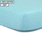 The Peanut Shell Dots Fitted Cot Sheet - Teal 1