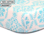 The Peanut Shell Floral Fitted Bassinet Sheet - Teal 1