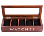 5-Compartment Wooden Watch Storage Box - Brown 1