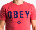OBEY Men's Naval T-shirt - Red 3