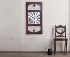 Rectangular Wooden Look Fleur Wall Clock 2
