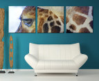 3-Part Canvas Set 57 x 57cm - Giraffe Eye 1