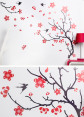 Red Cherry Blossom Wall Decal 4