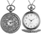 Vintage-Style Petal Pocket Watch Necklace - Silver 4