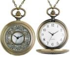 Vintage-Style Labyrinth Pocket Watch Necklace - Gold 4