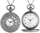 Vintage-Style Grandfather Clock Pocket Watch Necklace - Silver 4