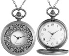 Vintage-Style Foliage Pocket Watch Necklace - Silver 4