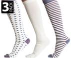 Gallaz Women's Striped Hearts Knee-Hi Socks 3-Pack 1