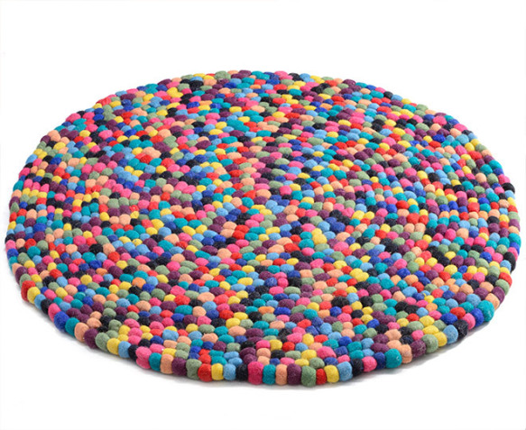 Kids round 100cm pom pom rug rainbow for Round rugs for kids