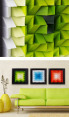 3D  Wall Art 40 x 40cm - Green/White 6