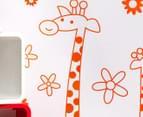 Three Orange Giraffes & Flowers Decal/Sticker 2